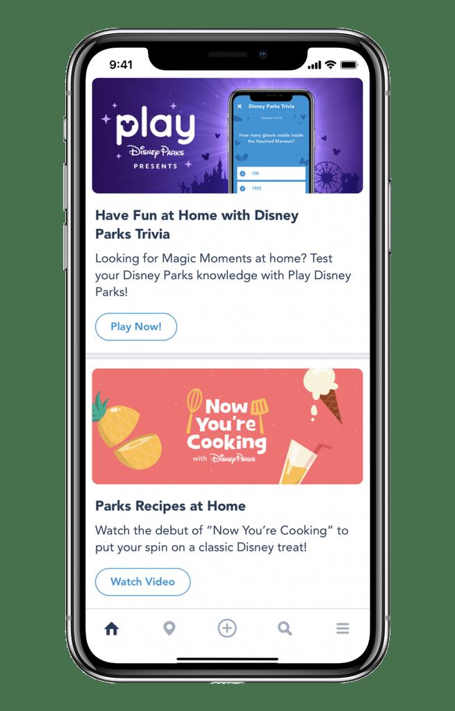 Play Disney Parks app screen