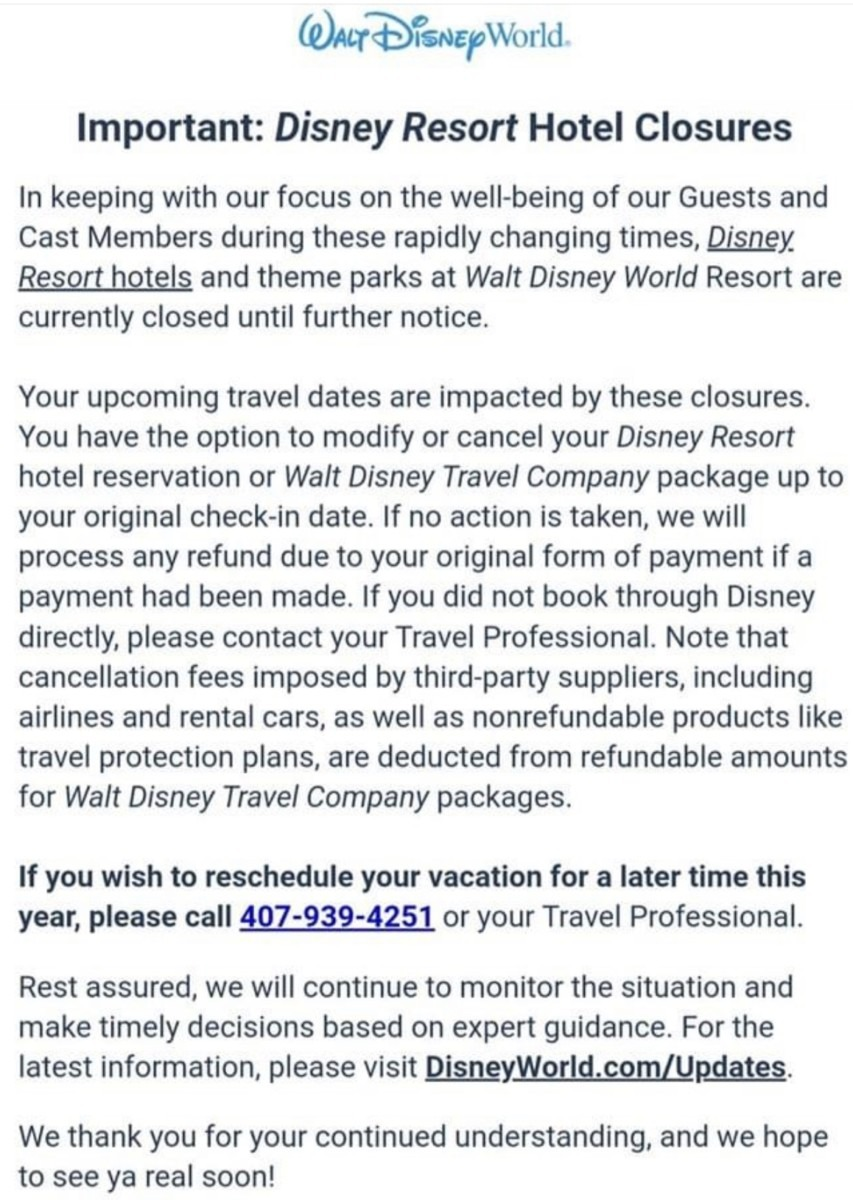 Update on Resort Reservation Cancellations for Walt Disney World 2