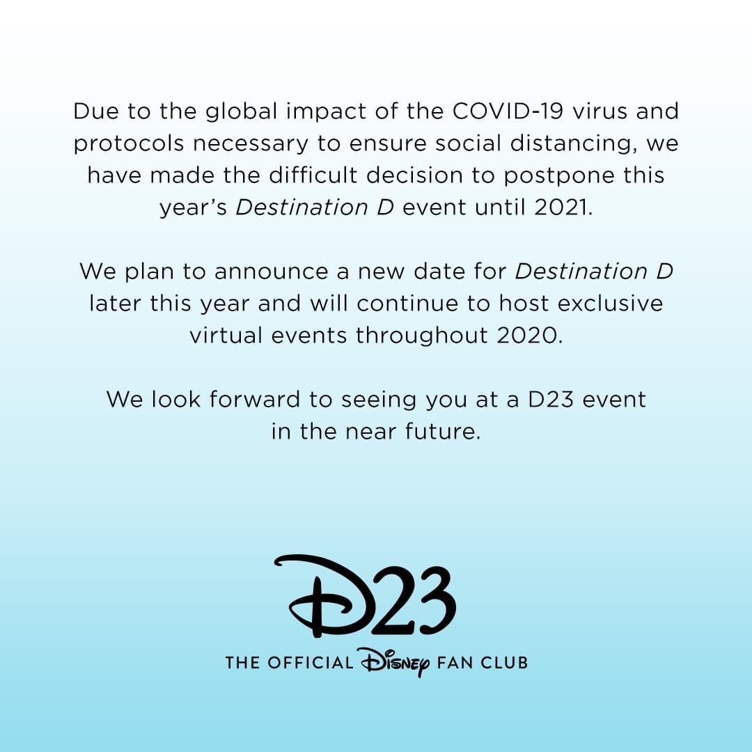Destination D Postponed Until 2021 #D23 1