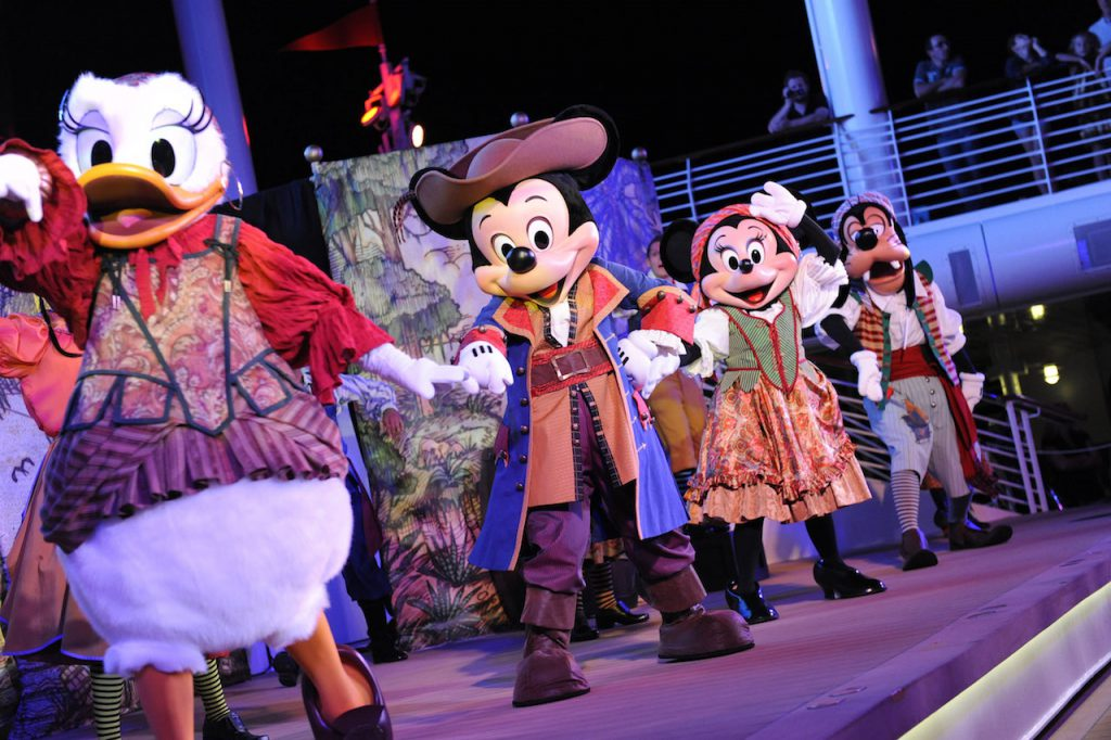 Daisy, Mickey Minnie and Goofy during Pirate Night on Disney Cruise Line