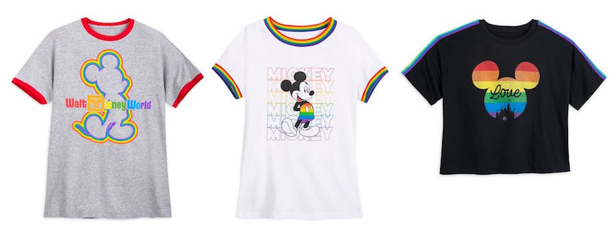 Rainbow Disney Collection items: classic gray ringer tee, rainbow-striped white tee and fashion semi-cropped tee