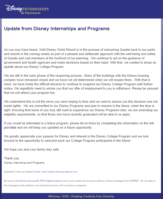 Internships & Programs for WDW and DL Canceled for Fall 1