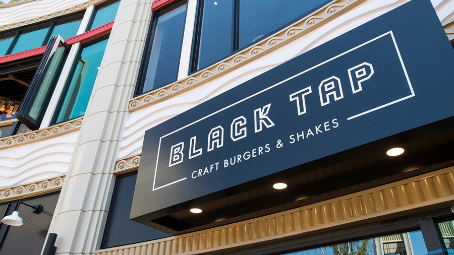 Black Tap Craft Burgers & Shakes exterior - Earl of Sandwich exterior -Downtown Disney District at Disneyland Resort