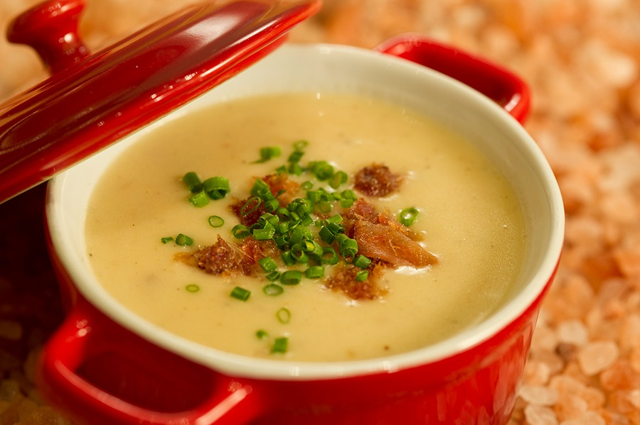 Offerings from Canada Marketplace for the 2020 Epcot Taste of International Food & Wine Festival - Canadian Cheddar and Bacon Soup served with a Prop & Peller® Pretzel Roll