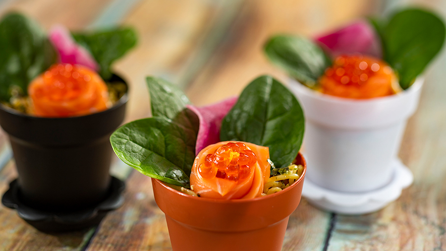 Offerings from Japan Marketplace for the 2020 Epcot Taste of International Food & Wine Festival - Chirashi Sushi Flowerpot: Fresh-cut Salmon, Salmon Roe, and Spinach served over Sushi Rice with Furikake and topped with Poke Sauce