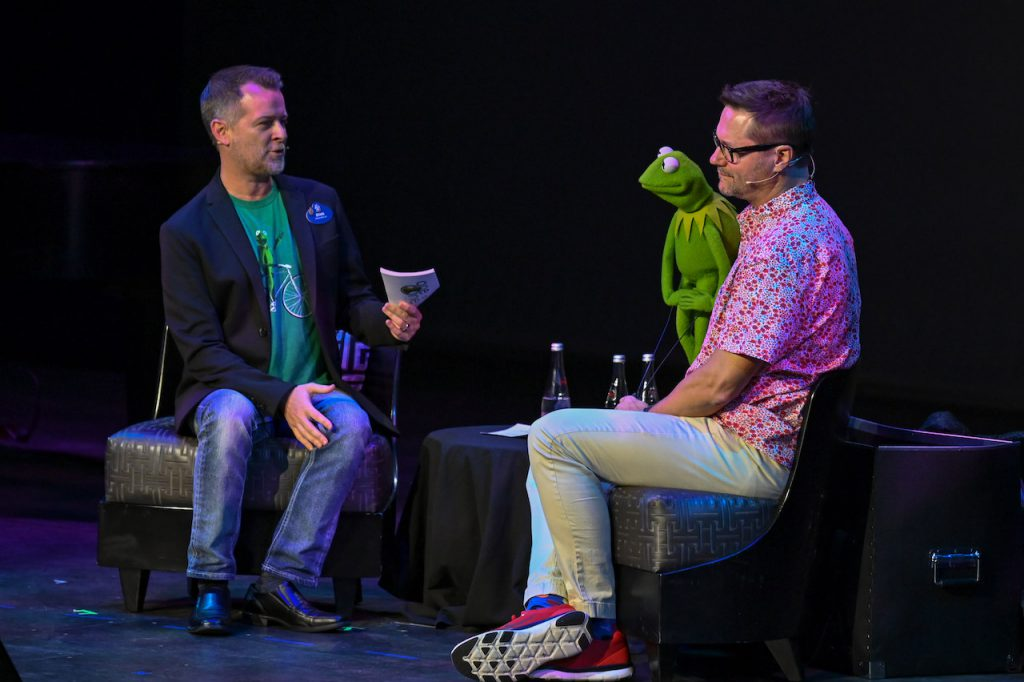 Ryan March, performer Matt Vogel and Kermit on stage