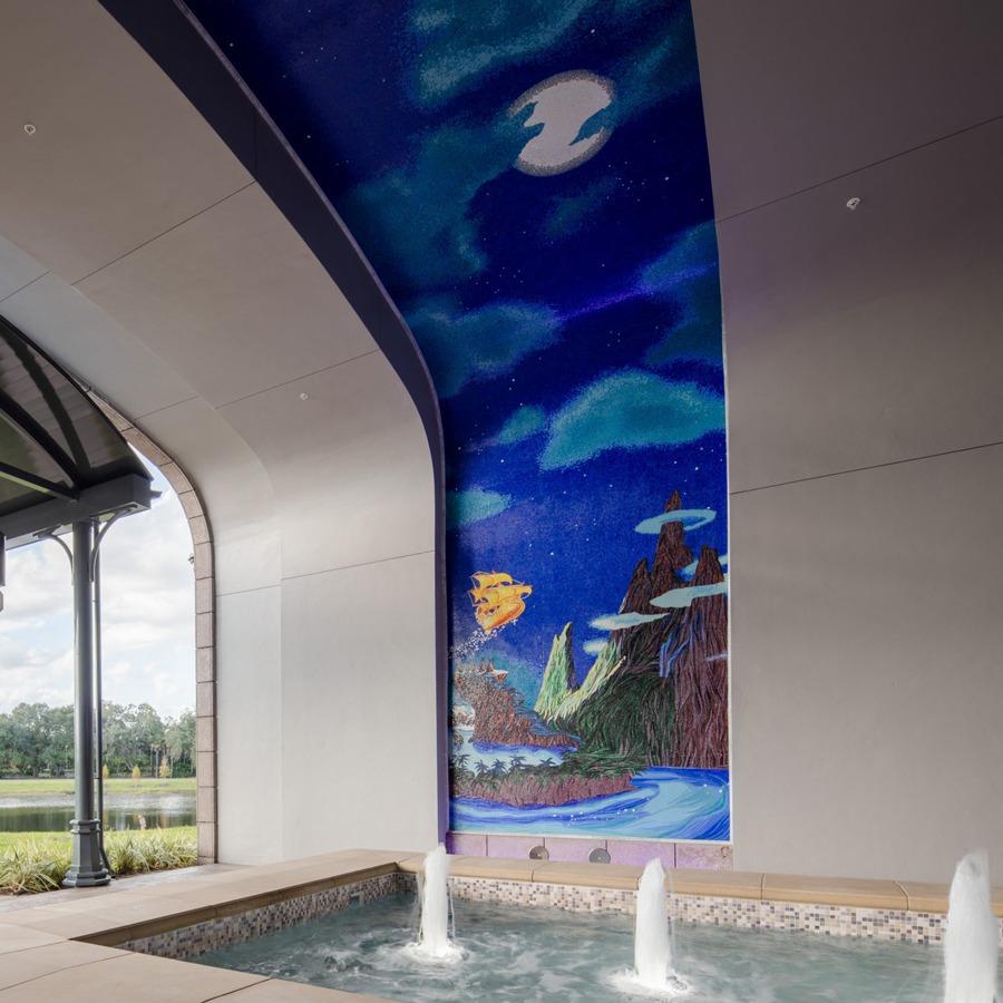 """Peter Pan""-themed mosaic mural"