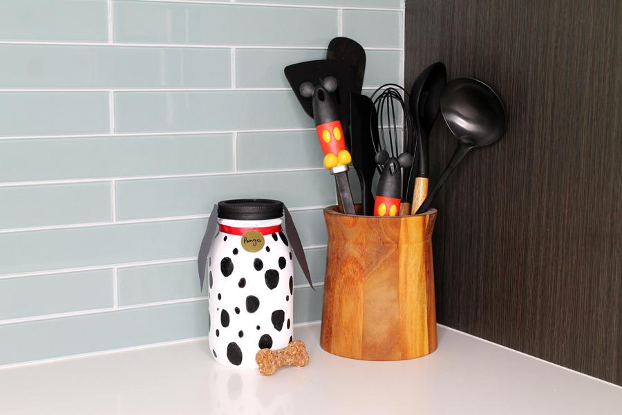 DIY Disney doggy treat jar in kitchen