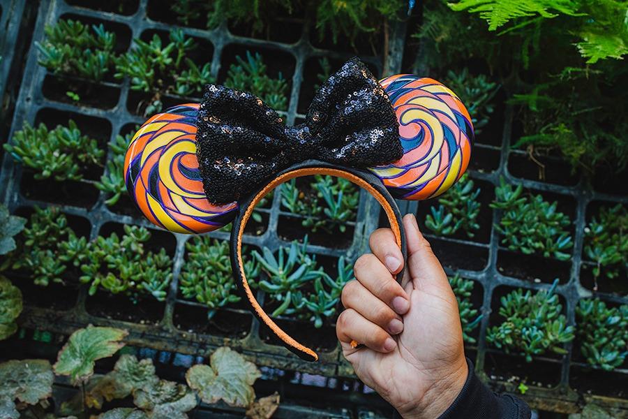 Candy-swirl Minnie Mouse ear headband