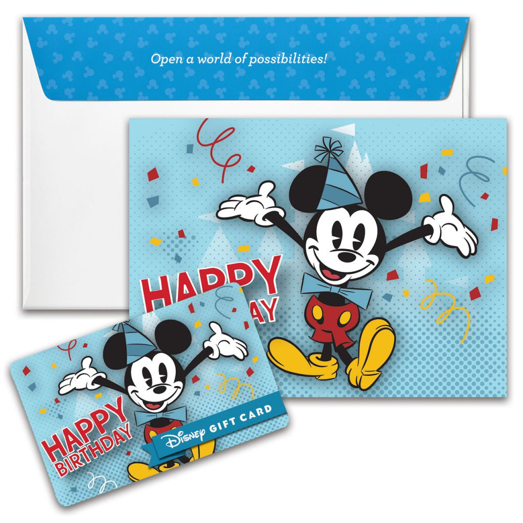 Happy Birthday Disney Gift Card design featuring Mickey Mouse