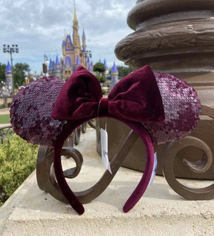 New Burgundy Sequined Minnie Ears at WDW! 2