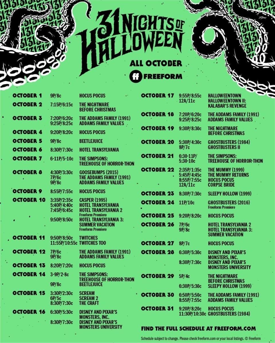 Freeform's 31 Nights of Halloween- Schedule 1