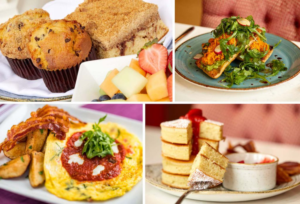 Collage of breakfast items from Walt Disney World Resort Hotels