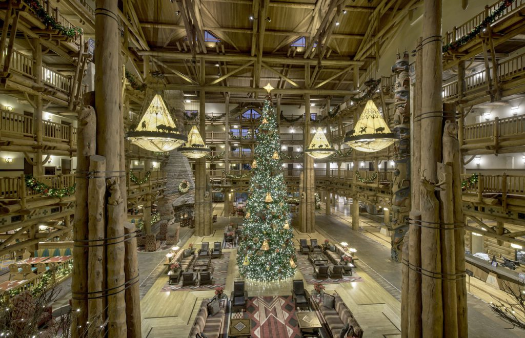 Holiday decorations at Disney's Wilderness Lodge