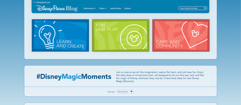 Image of the Disney Magic Moments landing page