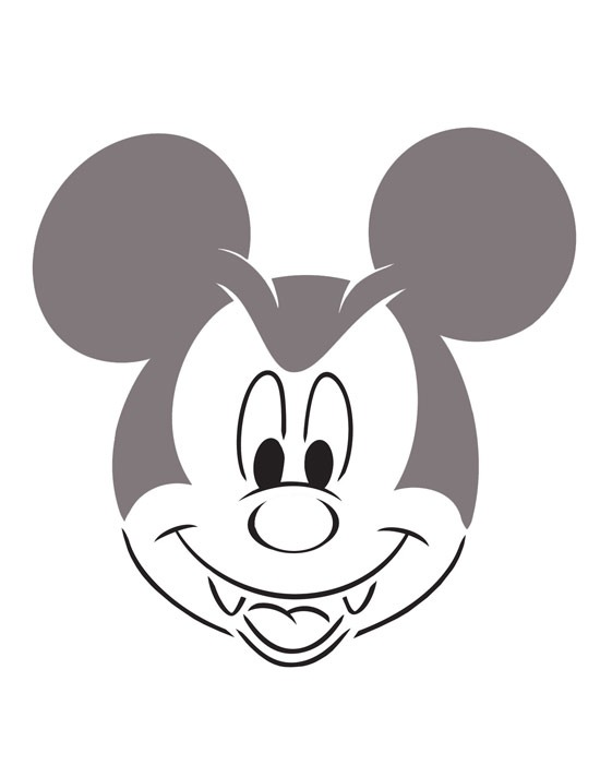 Dracula Mickey Mouse pumpkin-carving template