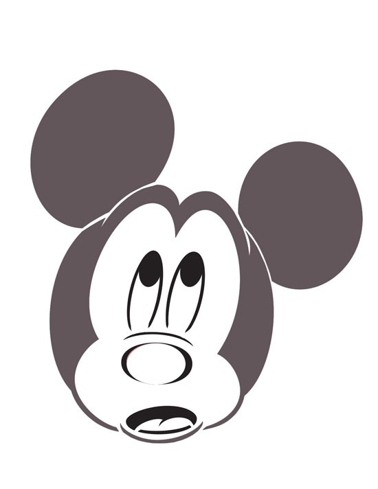 Scared Mickey Mouse pumpkin-carving template
