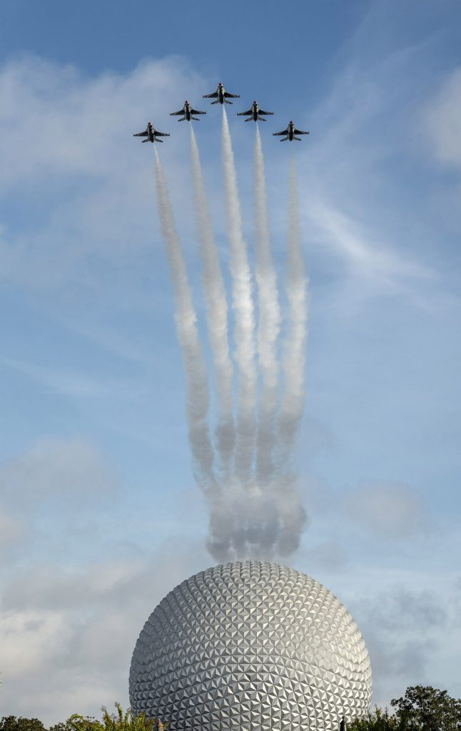 U.S. Air Force Thunderbirds fly over Spaceship Earth at EPCOT