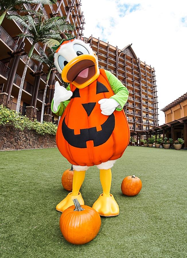 Donald Duck wears a jack o lantern costume at Aulani, a Disney Resort & Spa