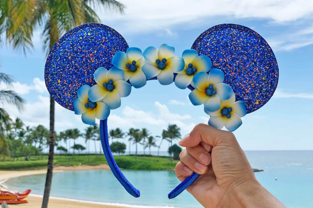 Wishes Come True Blue Minnie Mouse ear headband with plumerias from Aulani, a Disney Resort and Spa