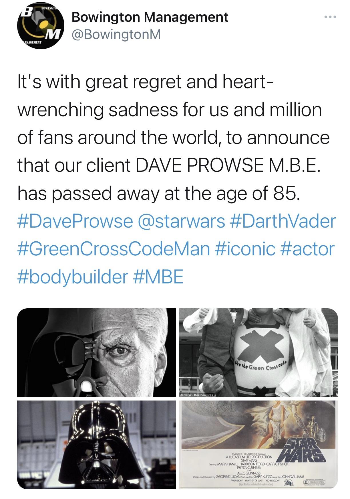 'Star Wars' actor David Prowse (Darth Vader) passes at the age of 85 2
