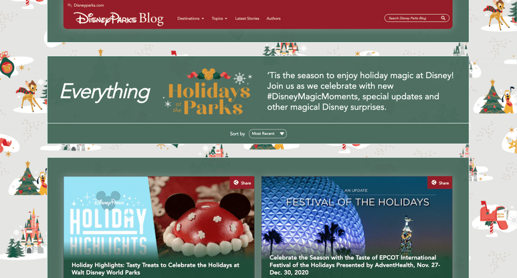 New 'Holidays at Disney' page on the Disney Parks Blog