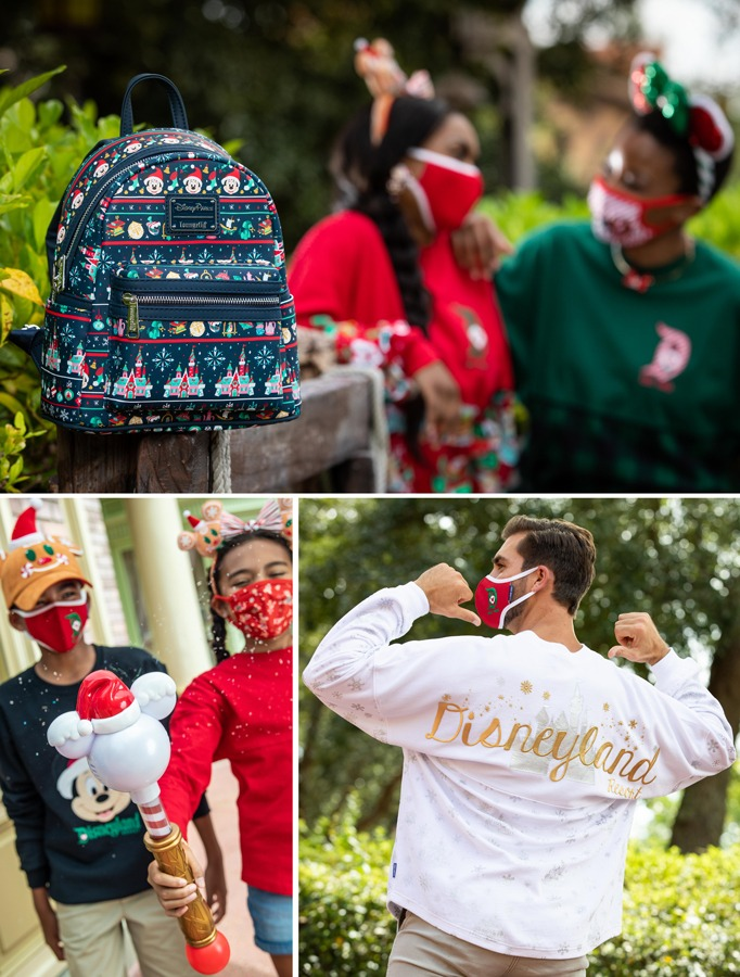 """Collage of holiday merchandise featuring an """"ugly sweater"""" Loungefly backpack. new snow blower wand and silver and gold spirit jersey"""