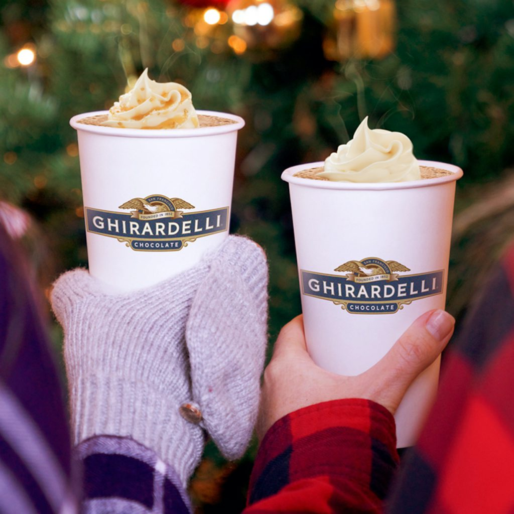 Ghirardelli White Chocolate Caramel Steamer and Peppermint Hot Cocoa, Ghirardelli Soda Fountain & Chocolate Shop