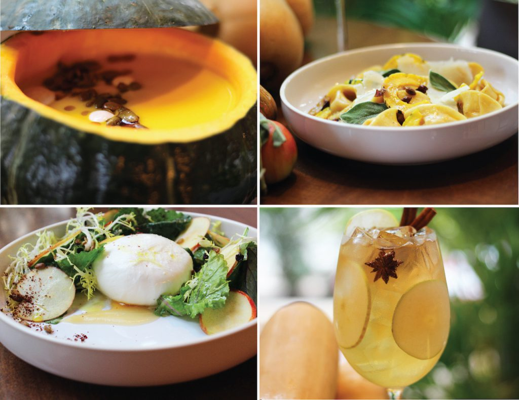 Roasted Pumpkin Soup, Butternut Tortellini, Heirloom Apple Salad, Fall Spiced Sangria, Wolfgang Puck Bar & Grill
