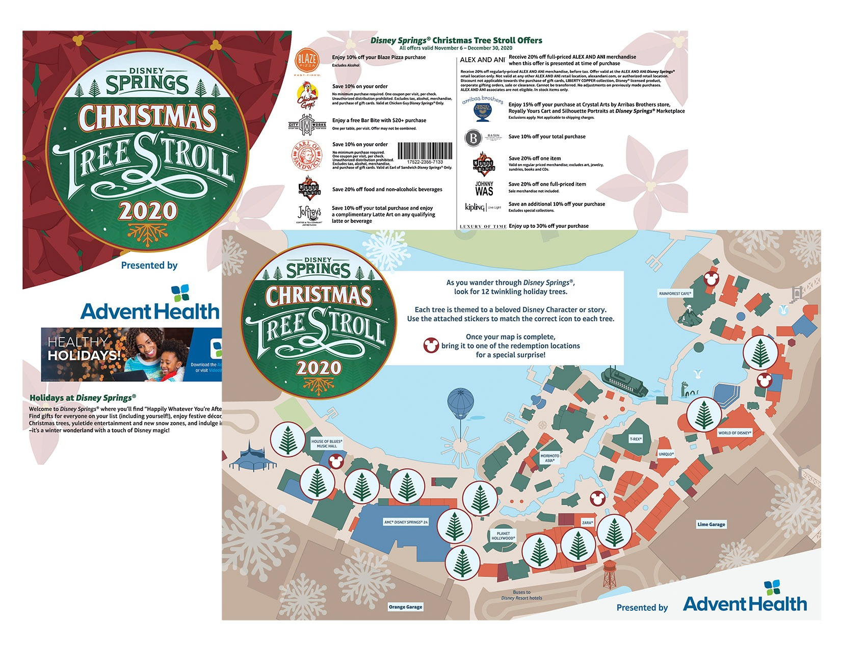 Jolly holiday scavenger hunt that allows you to safely wander and explore the Disney Springs Christmas Tree Stroll presented by AdventHealth