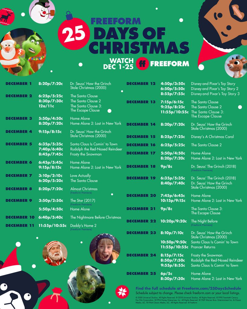 """Freeform's """"25 Days of Christmas"""" programming schedule"""