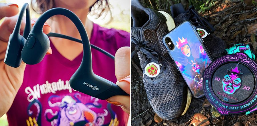 AfterShokz open-ear bone conduction headphones and Disney Villains x OtterBox case