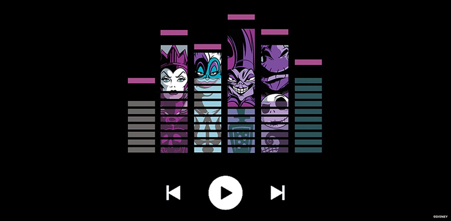 Frighteningly famous songs from the Disney Villains playlist graphic