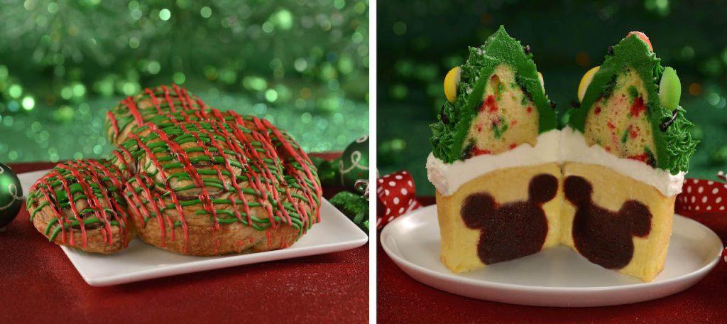 Holiday Mickey Cinnamon Roll and Twice Upon a Cupcake at Magic Kingdom Park