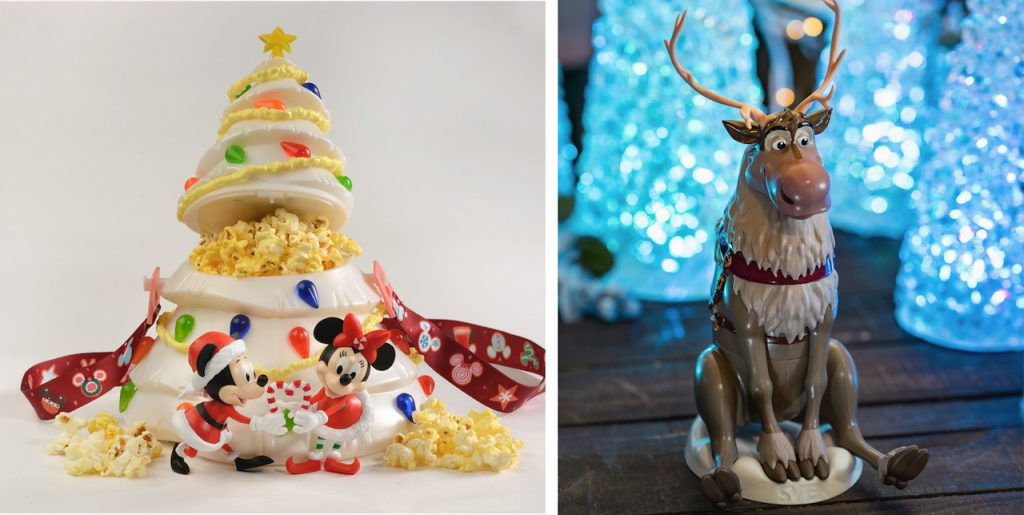 White Christmas Tree Popcorn Bucket and Sven Sipper Cup from Magic Kingdom Park