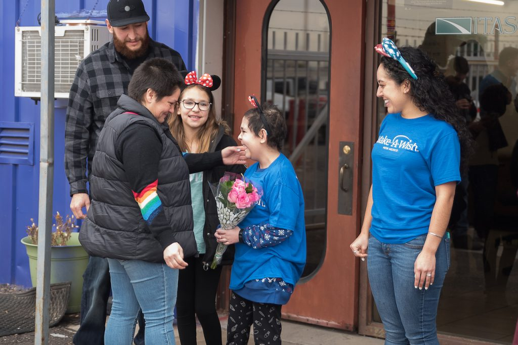 Wish kid Tali and her family being surprised