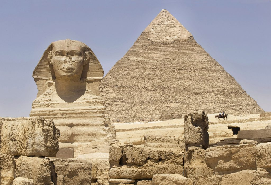 Zoom background of the pyramids and Sphinx of Giza