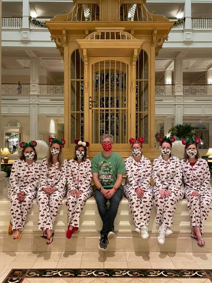 Guests in Christmas PJs at Disney's Grand Floridian Resort and Spa