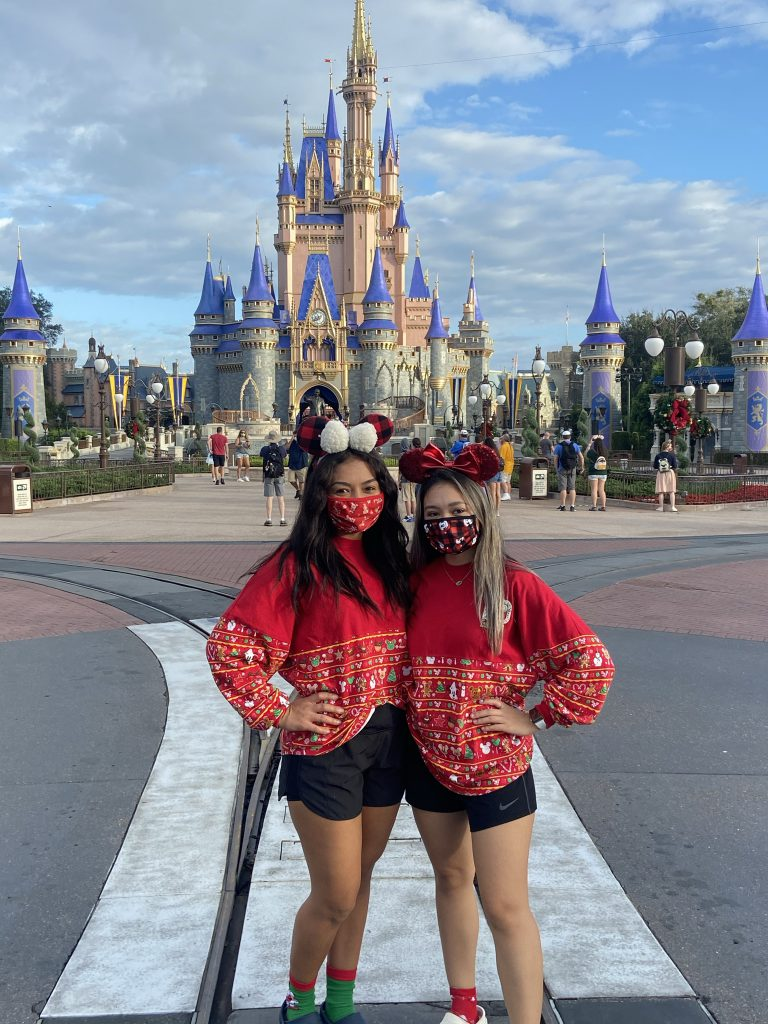 Guests in holiday outfits at Magic Kingdom Park