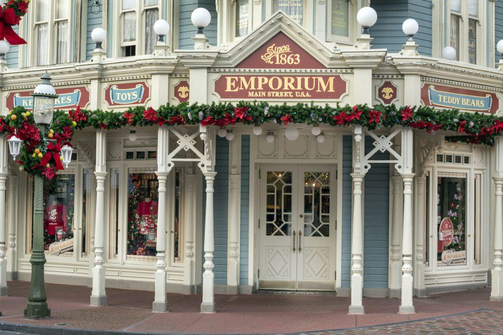 Holiday window decorations at the Emporium at Magic Kingdom Park
